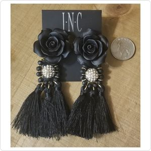 INC Gold-Tone Rose & Tassel Drop Earrings
